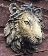 'Small Lion Head' wall plaque decorative stone ornament